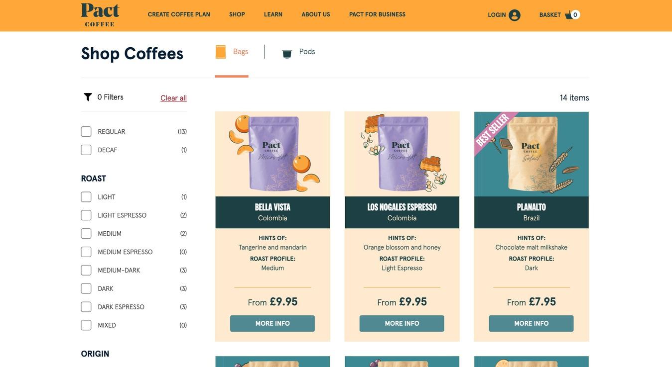 Pact Coffee Online Store Screenshot