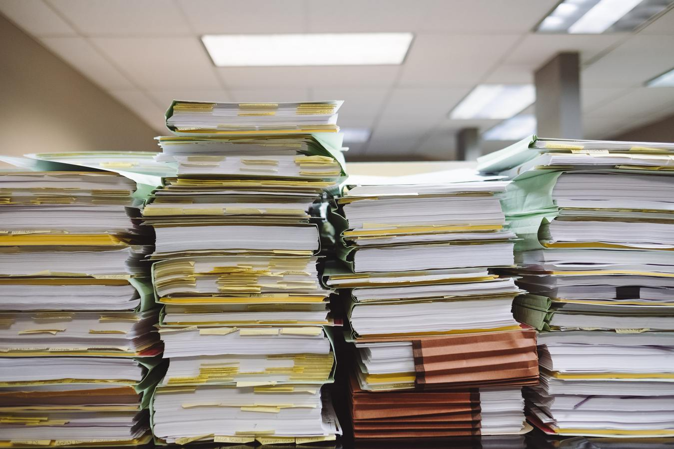 Pile of papers in an office