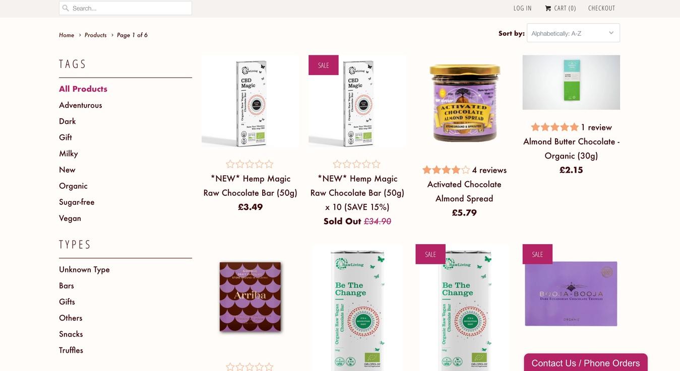 Raw Chocolate Company Online Store Screenshot