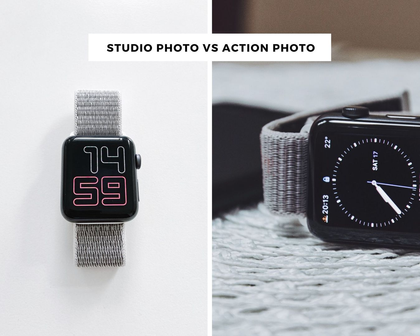 Studio photo vs action photo example of a smart watch