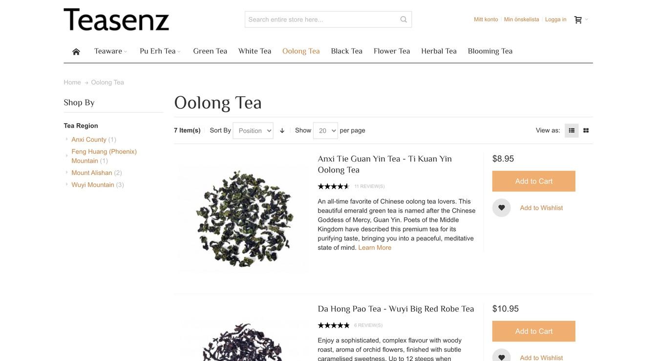 Teasenz Tea Online Store Screenshot