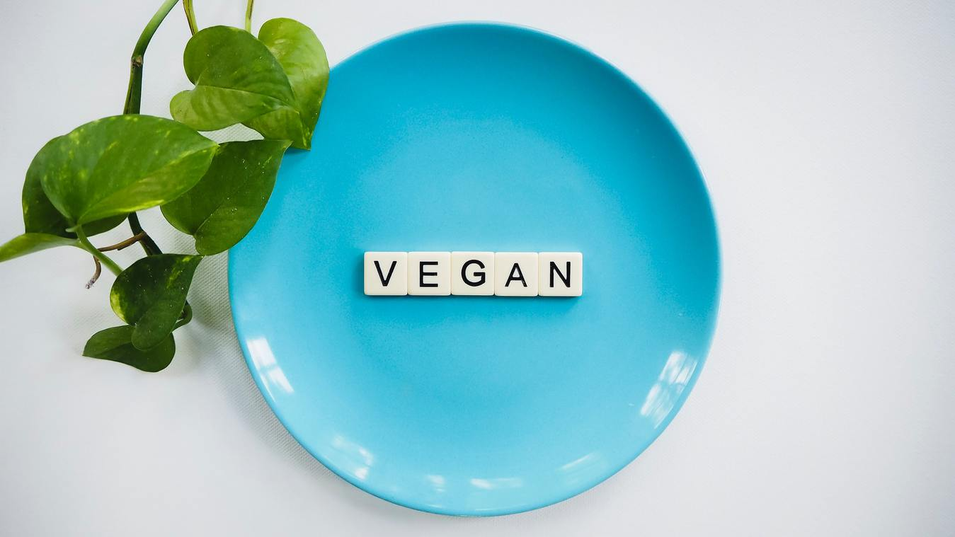 Vegan Label on a Blue Plate