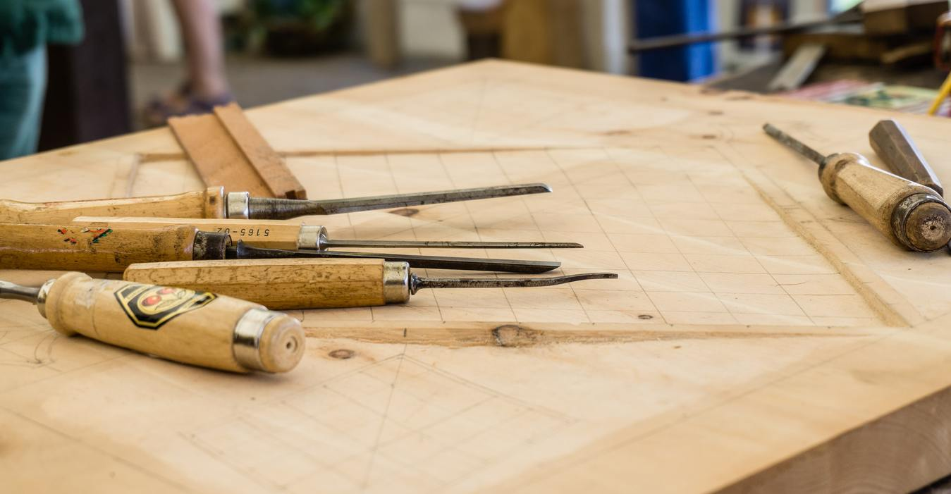 Woodcarving equipment on a work bench