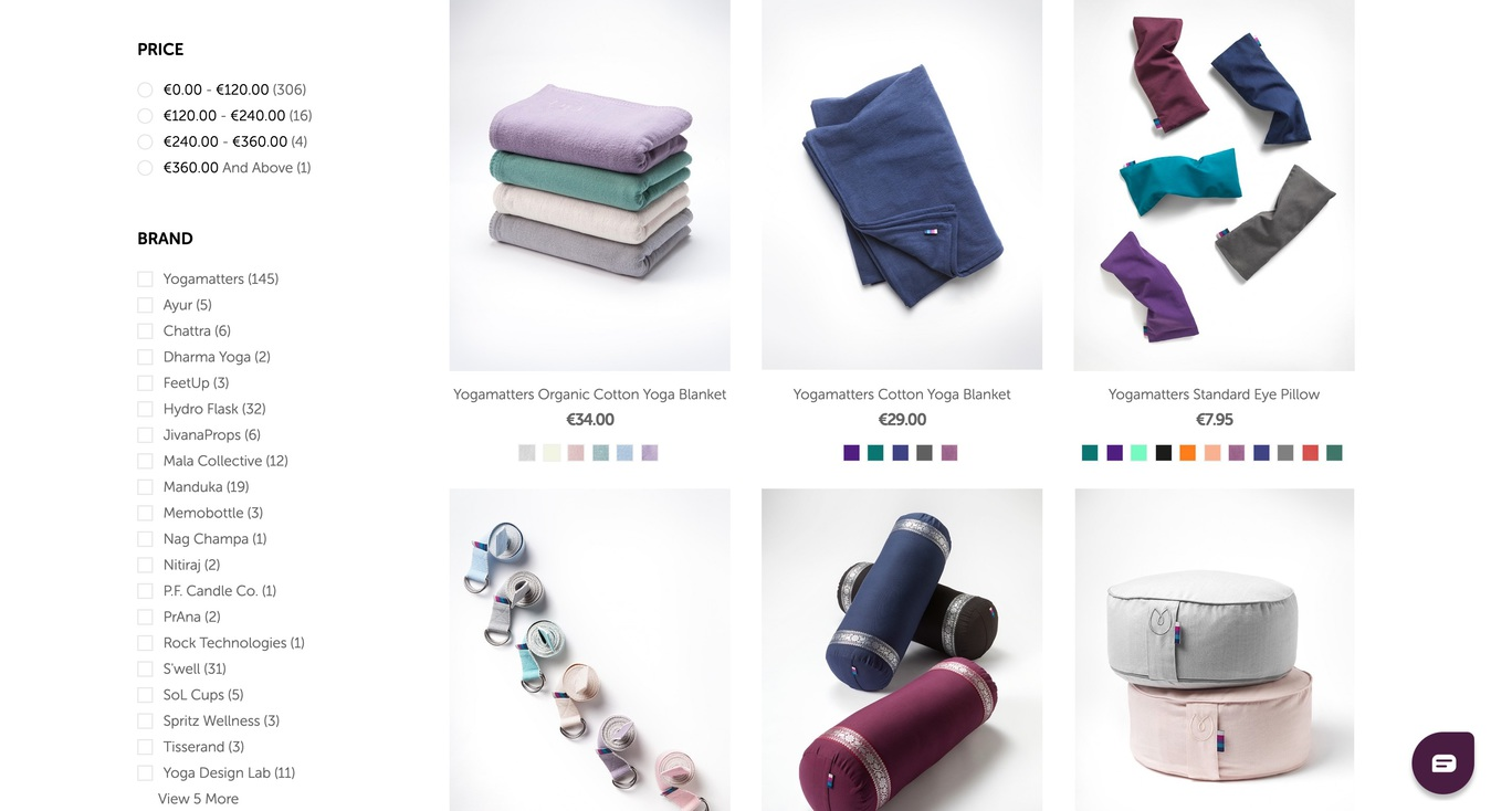 Yogamatters Online Store Products Screenshot