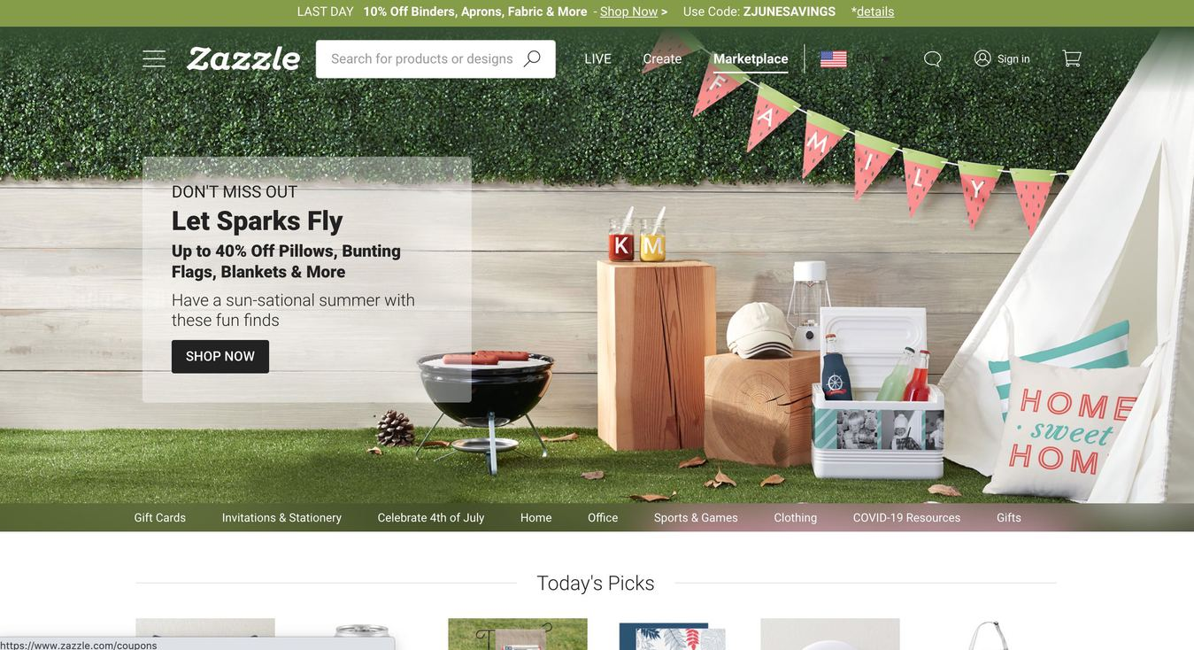 Screenshot von der Zazzle Online-Marktplatz Website