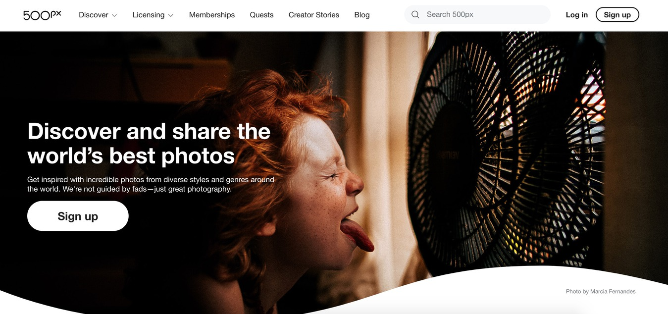 plataforma de banco de imagens 500px Stock versão desktop