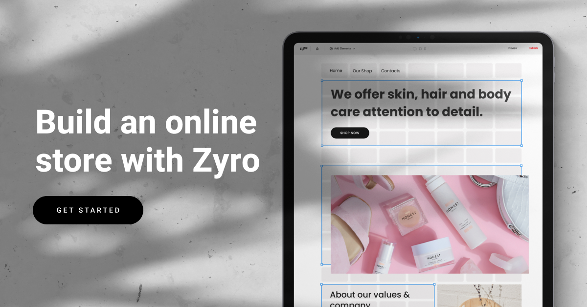 Build an online store with Zyro on a tablet