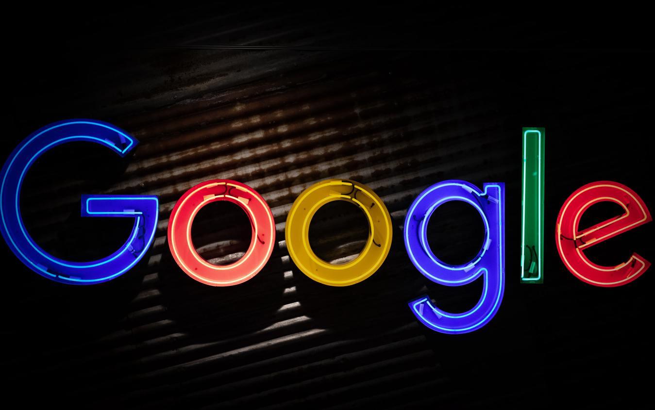 Google Neon Sign Black Background