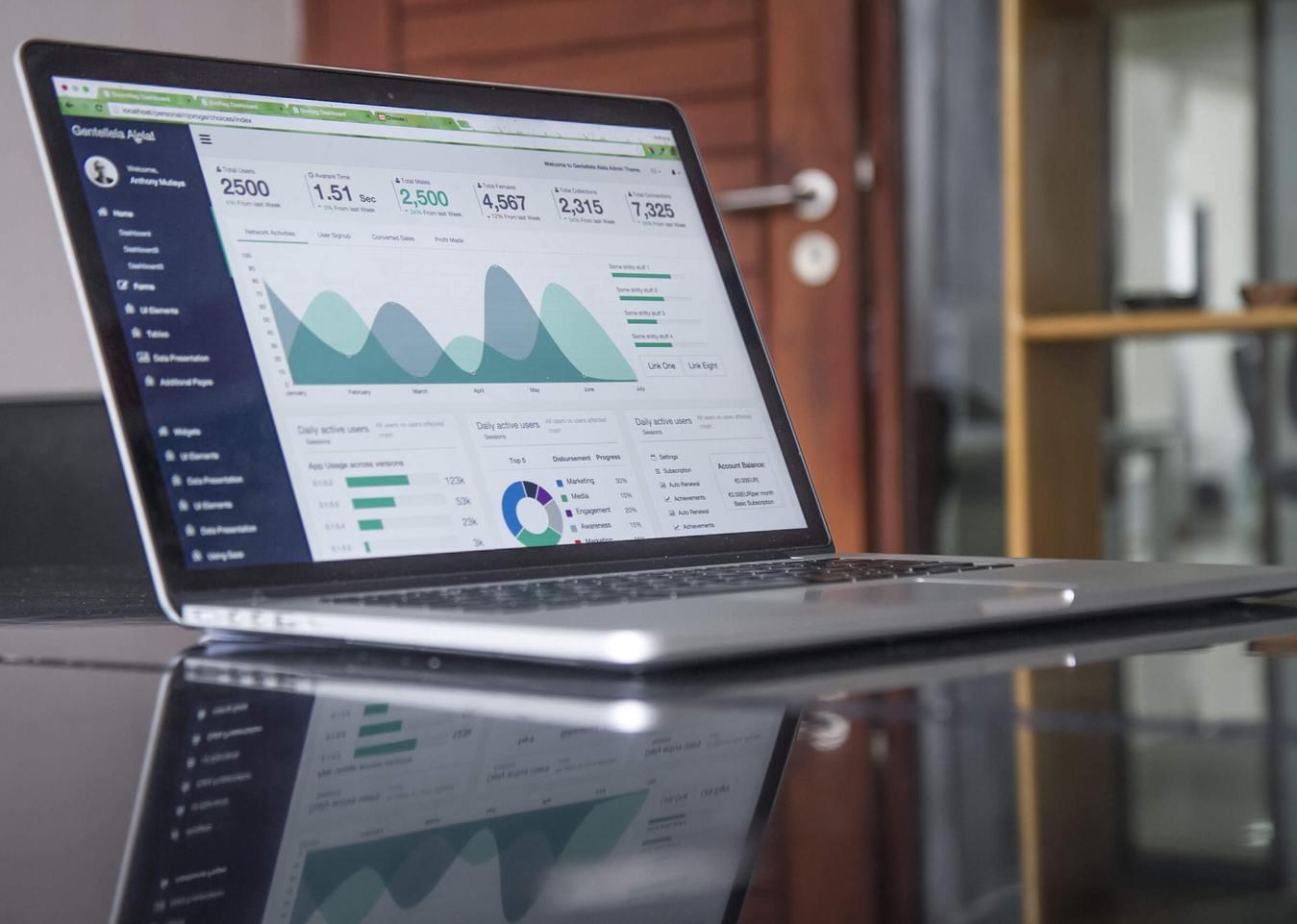 gráficos de otimização na tela do notebook