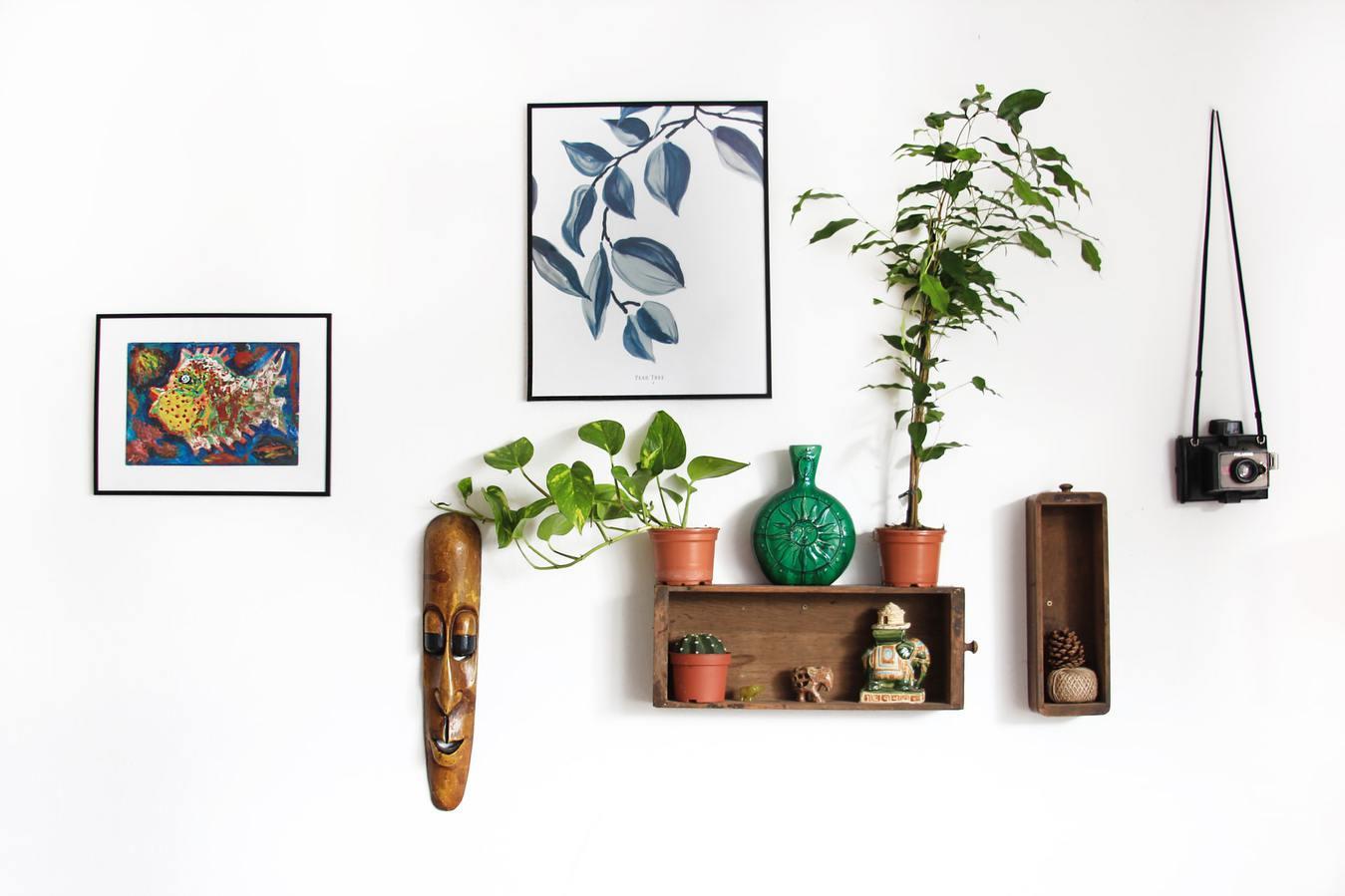 Items on a Shelf and Wall, Home Decor