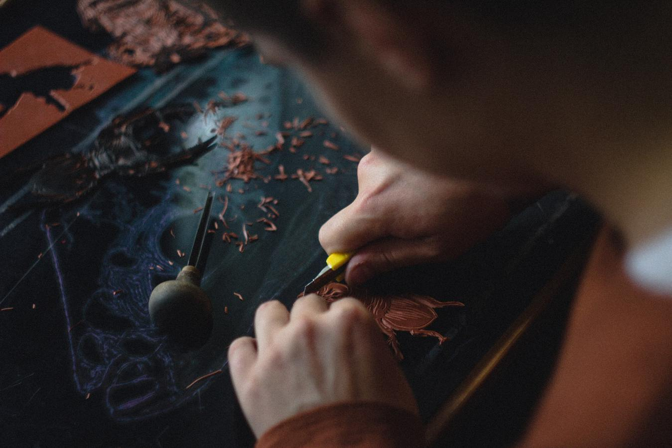Leather goods production process closeup