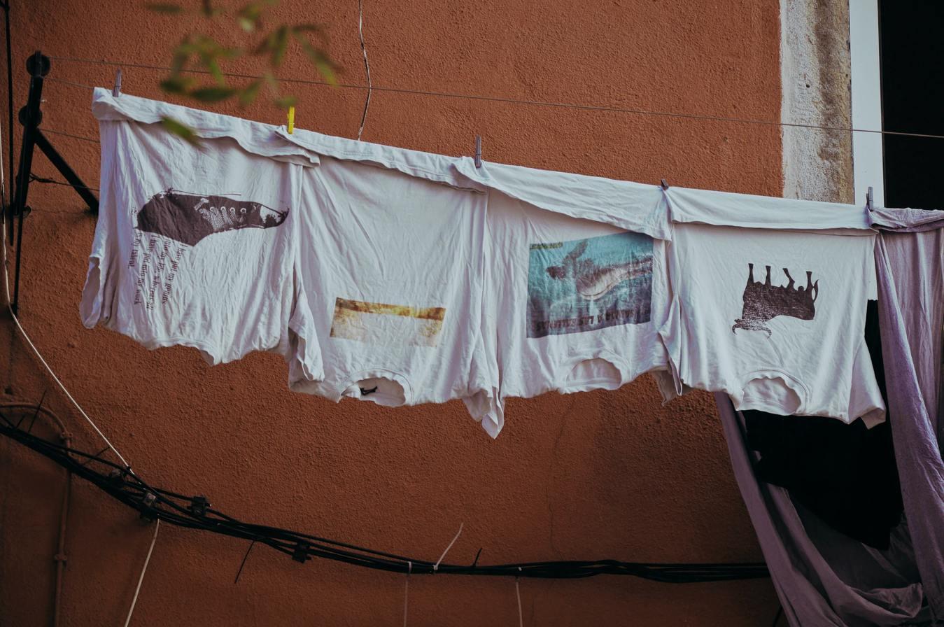 Magliette su un filo della biancheria