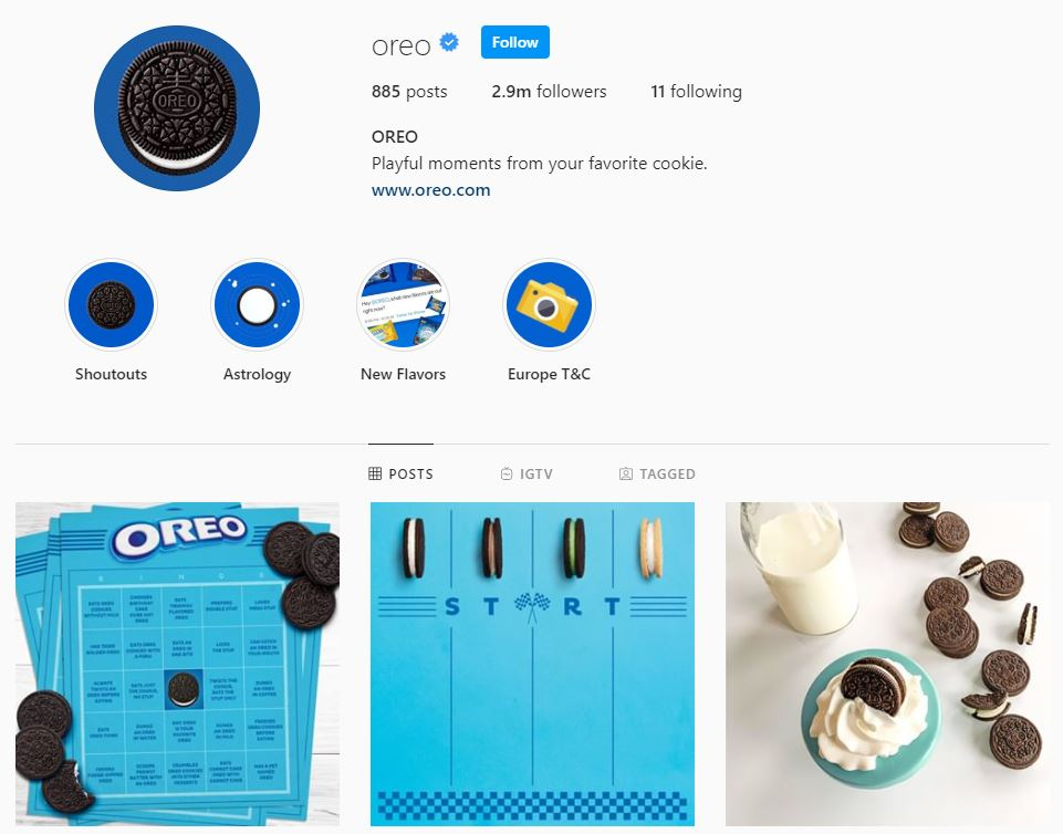 perfil de Instagram de Oreo