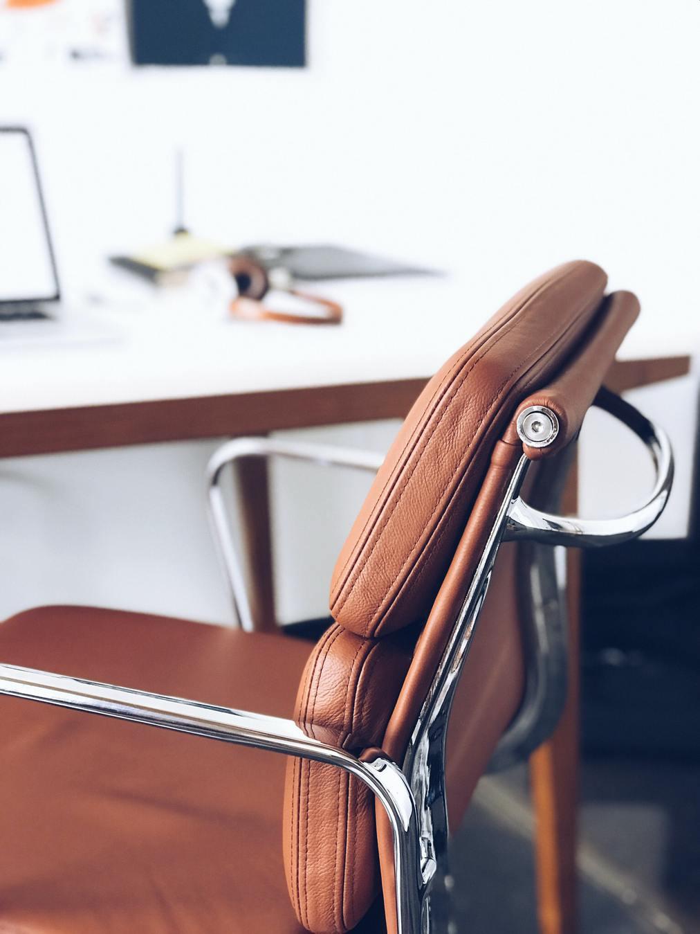 sedia da scrivania in pelle