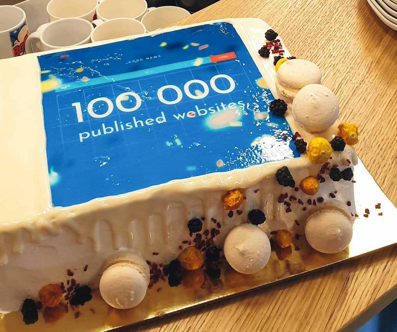100k Websites Published Cake