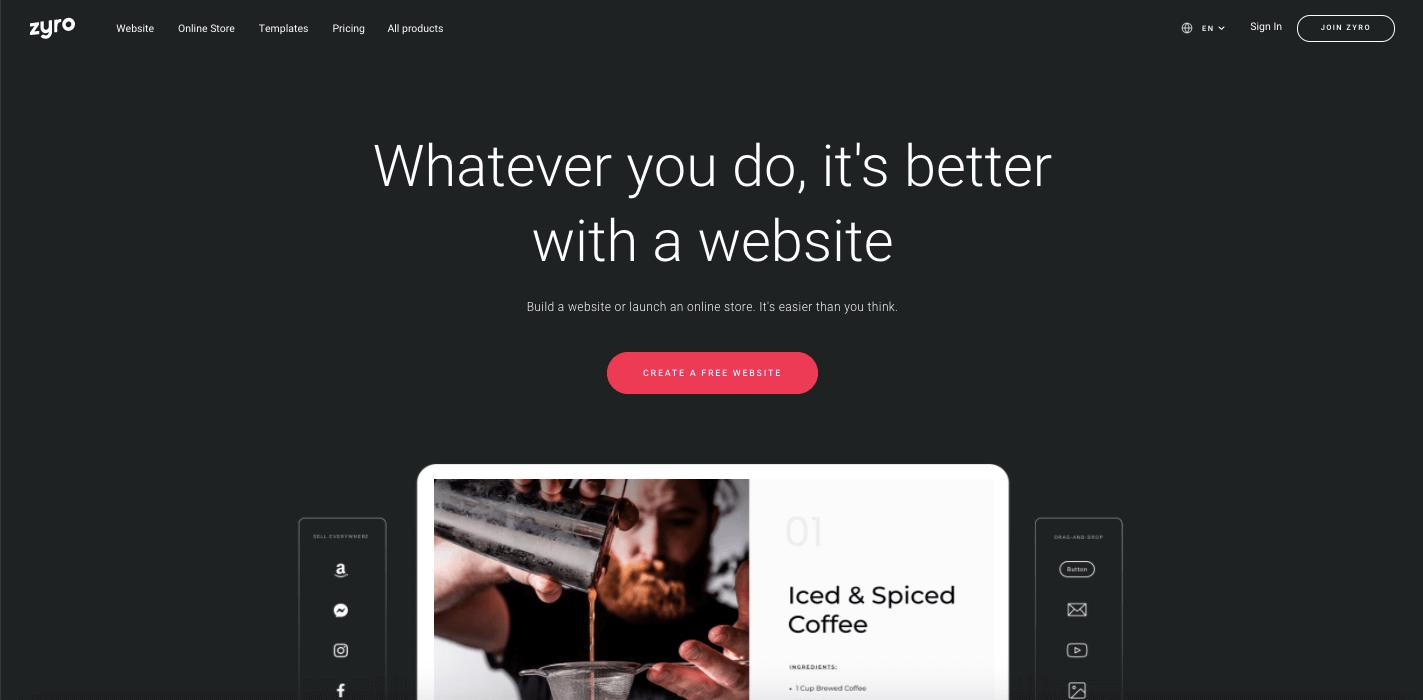 Homepage Zyro