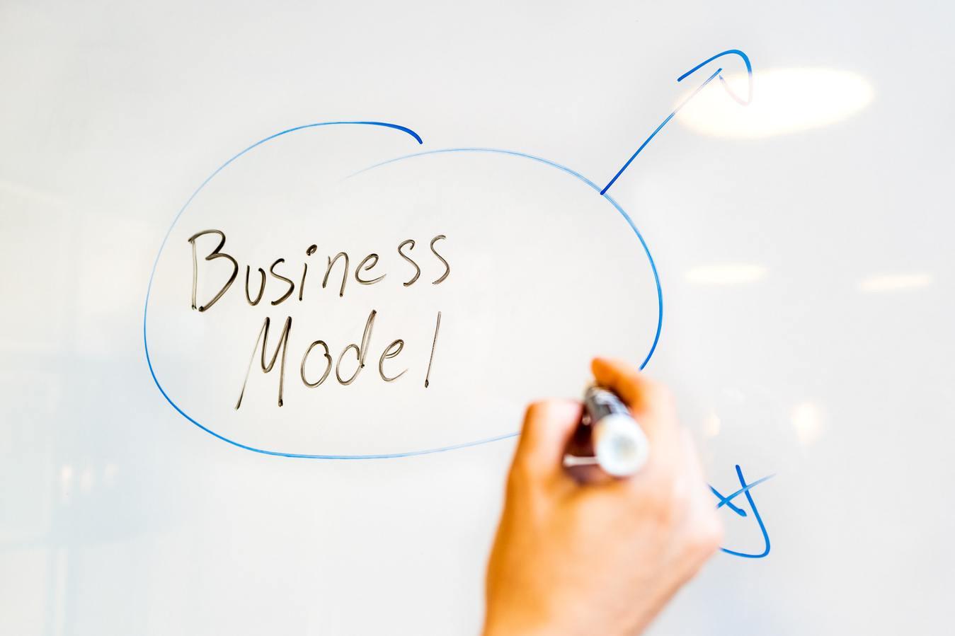 Modello business scritto a mano su una lavagna