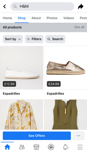 screenshot della pagina del negozio Facebook