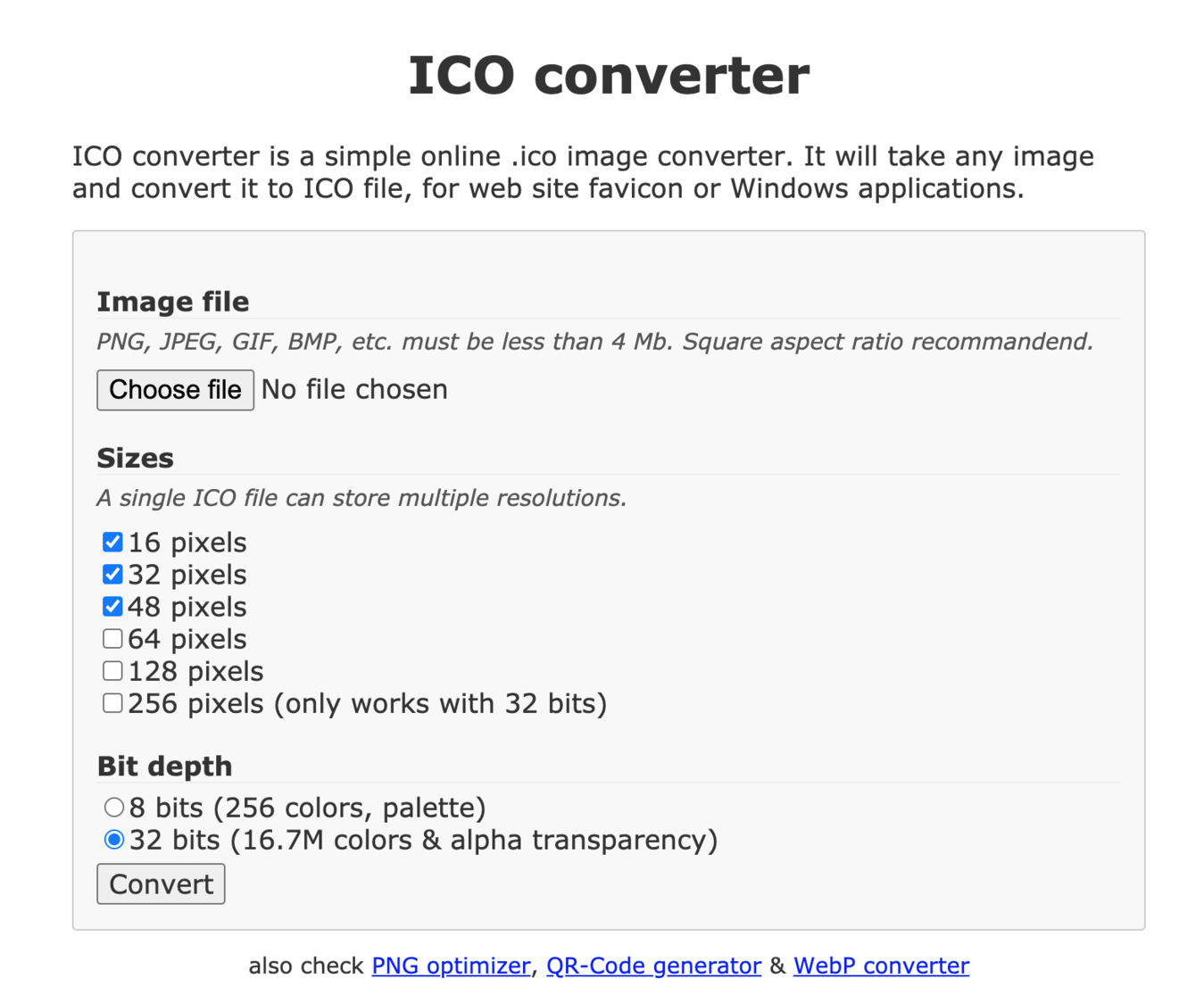 Generatore favicon - ico converter