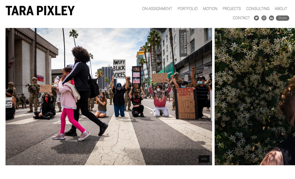 Tara Pixley photography portfolio website