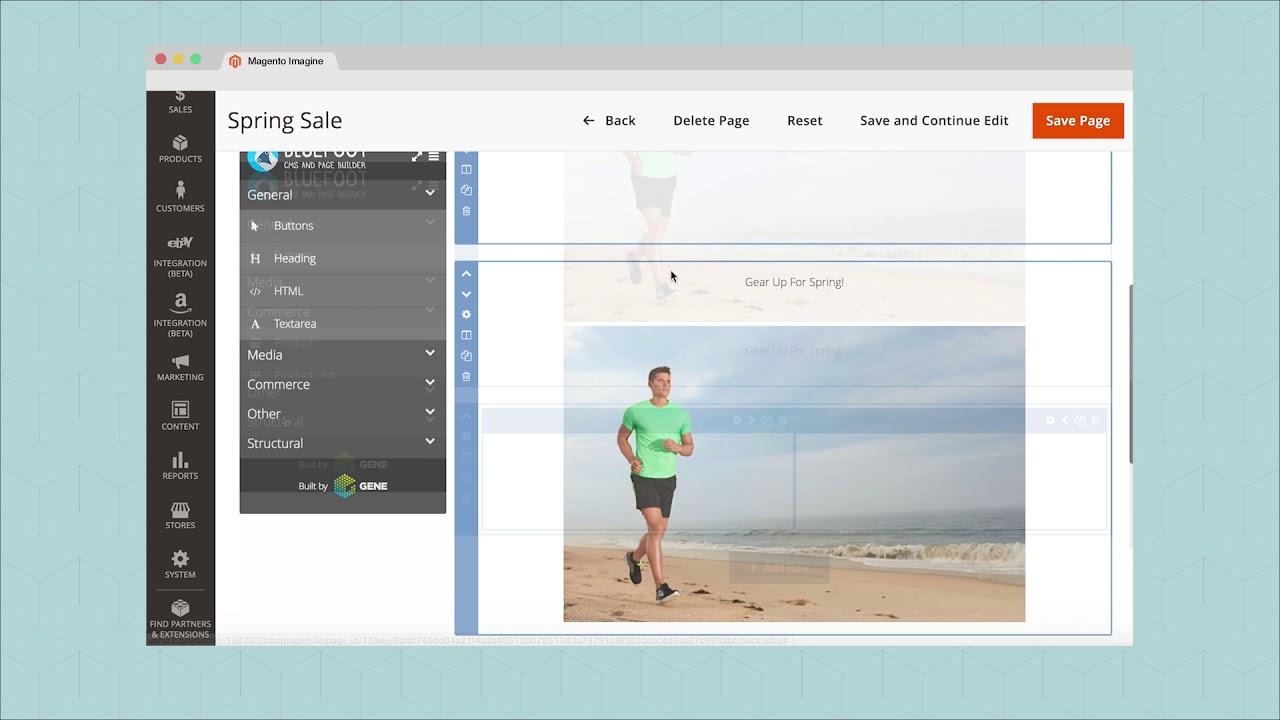 ảnh màn hình magento website builder nền tảng thương mại điện tử