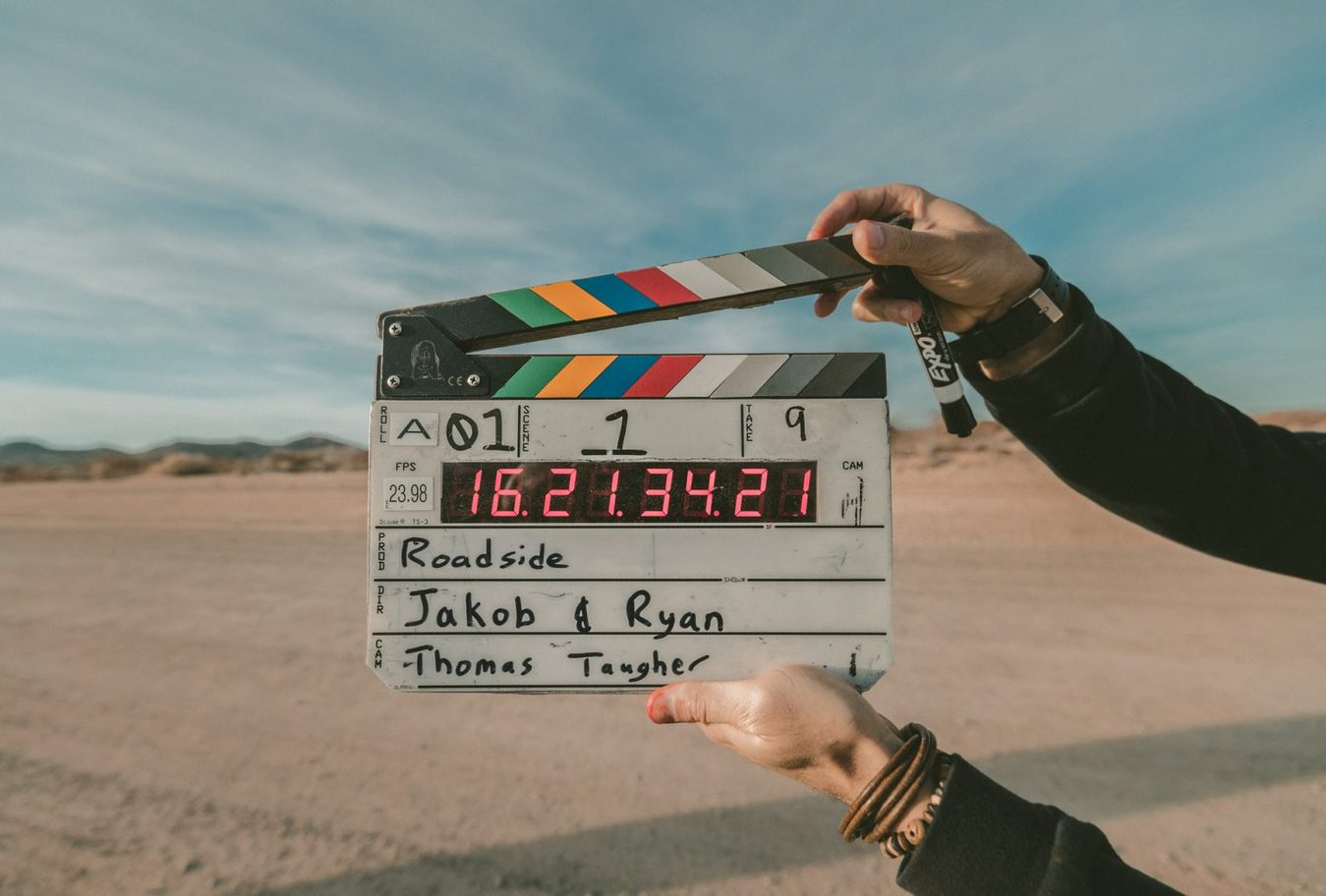 A clapperboard used outside