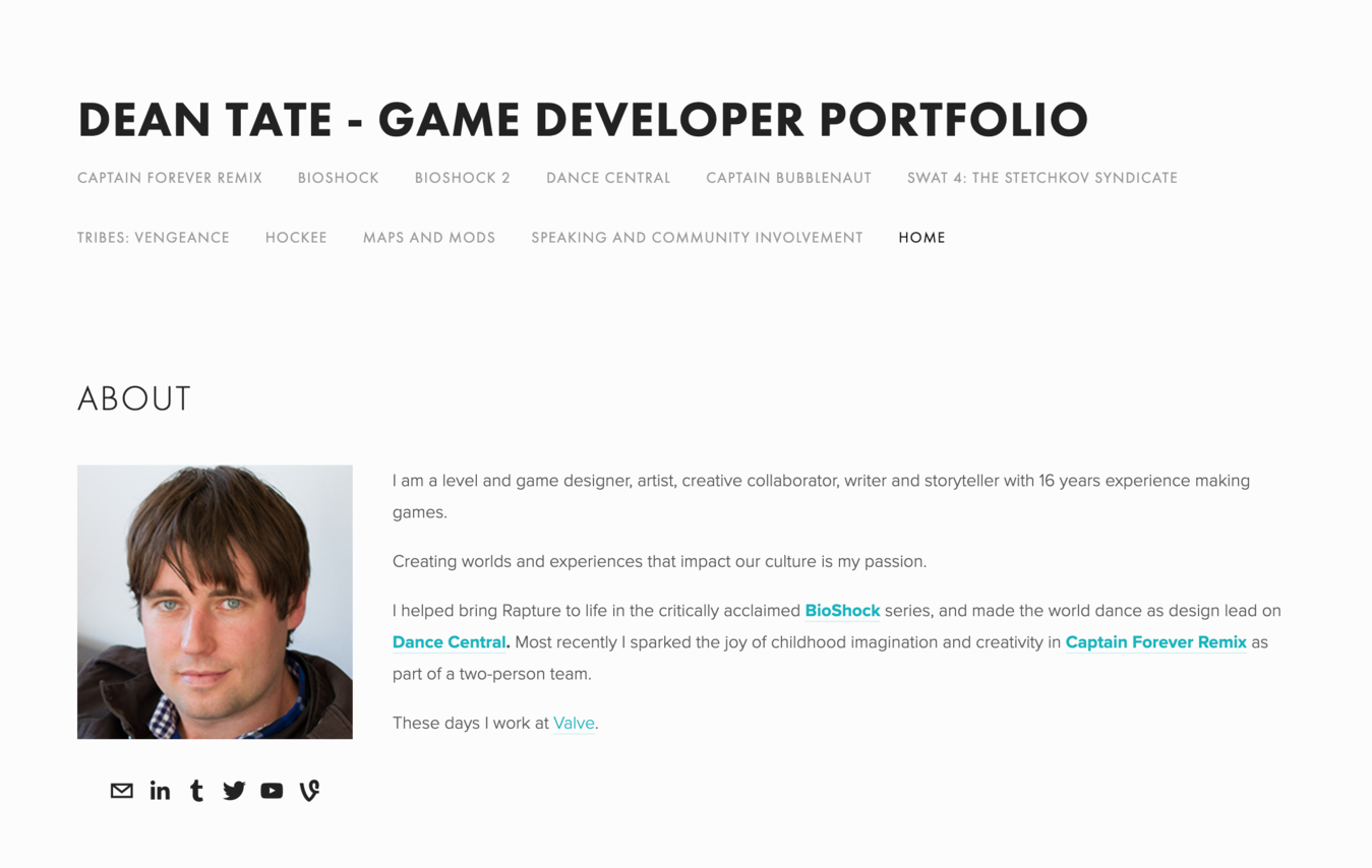 Dean Tate portfolio website