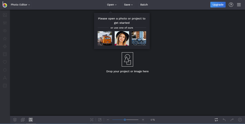 interface do editor de fotos BeFunky