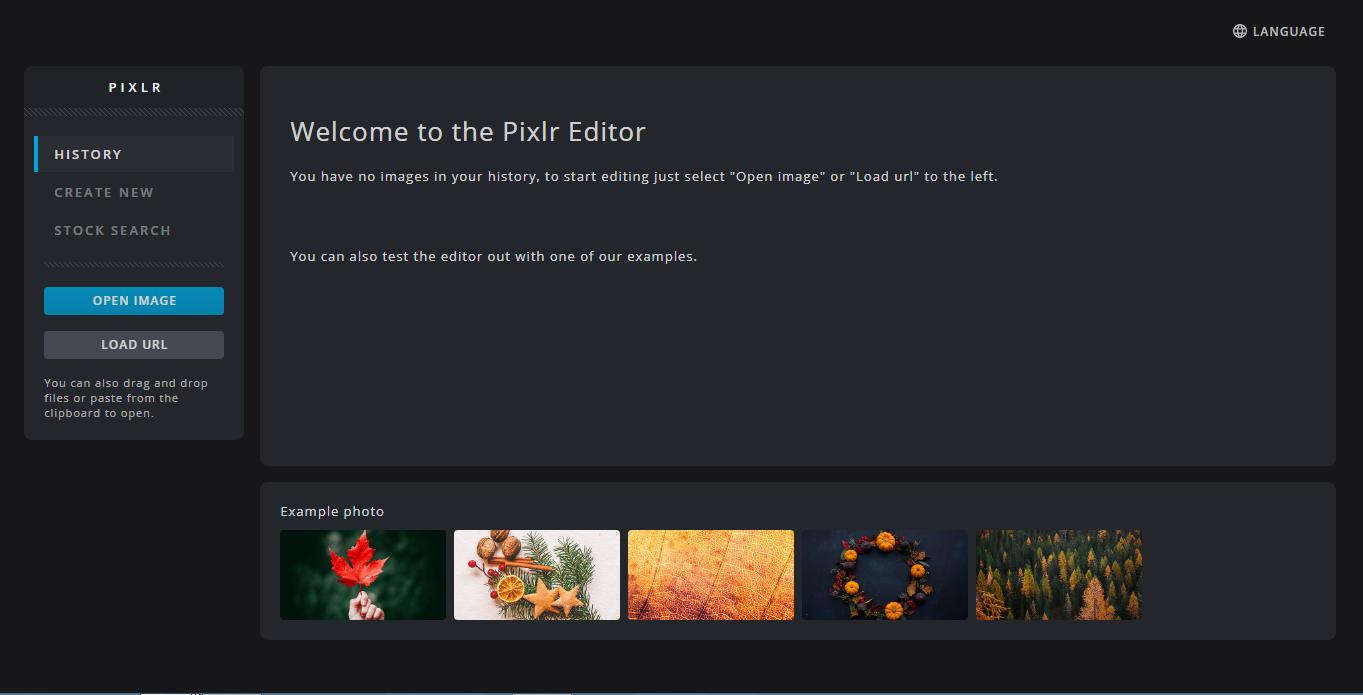 Painel de controle do editor de fotos Pixlr