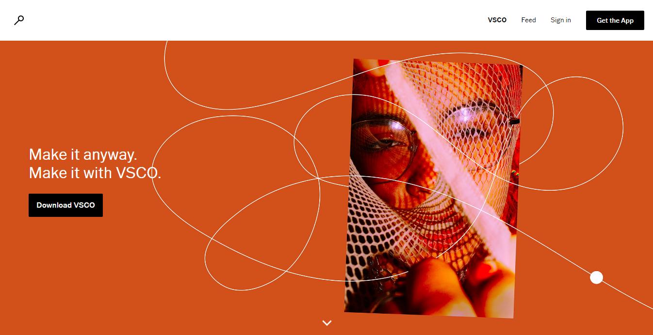 landing page do software de edição de fotos VSCO