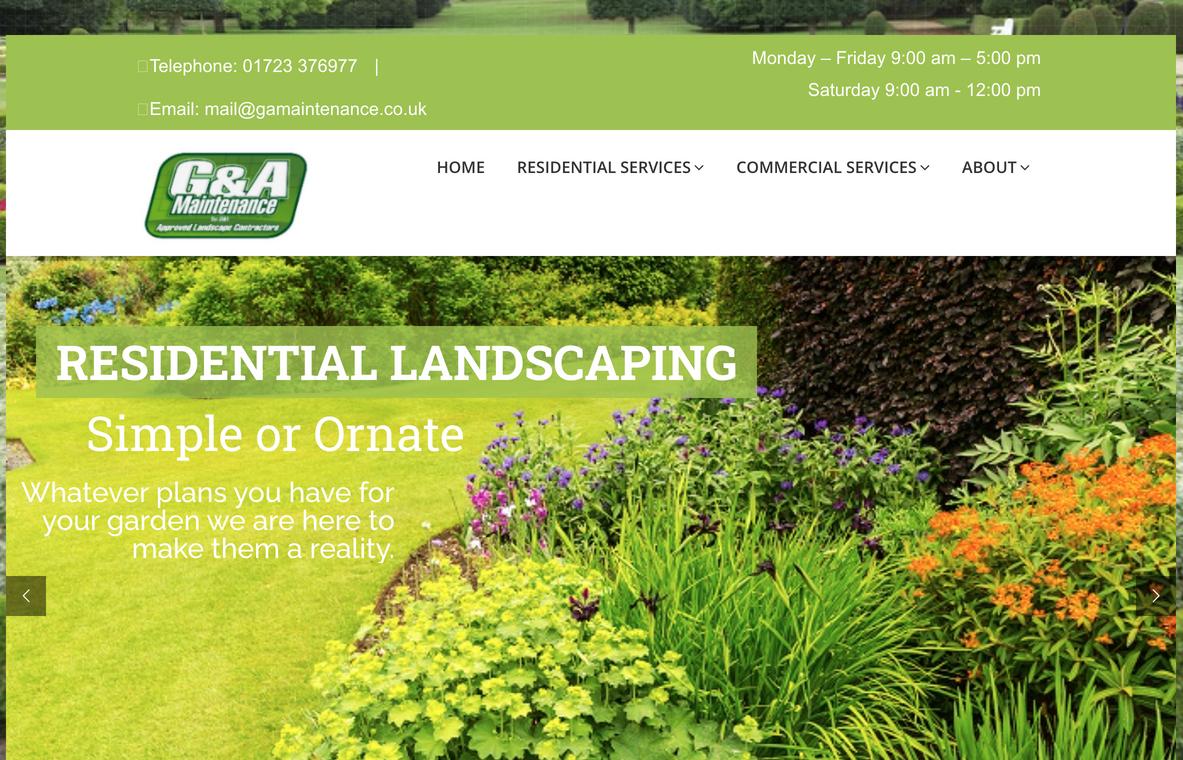Example of a brochure website (G&A Maintenance)