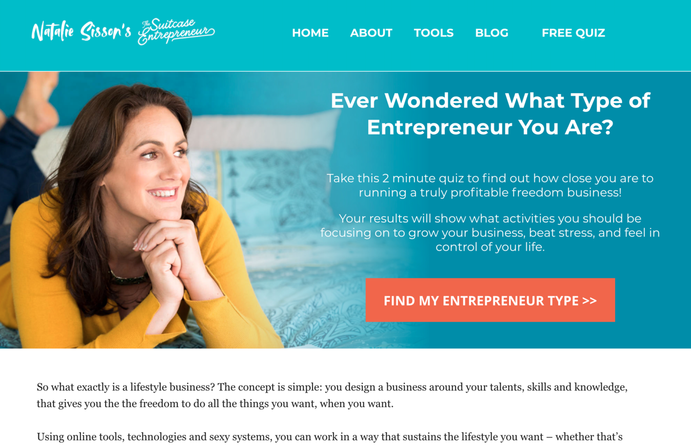 Example of an infopreneur website (Suitcase Entrepreneur)