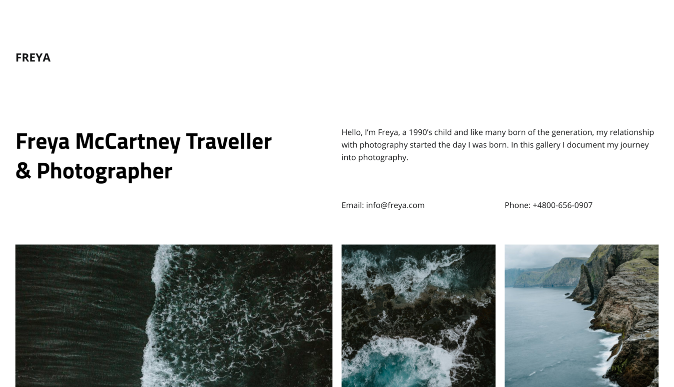 Freya McCartney travel photography portfolio website