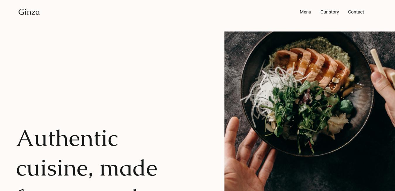 Ginza minimalist website