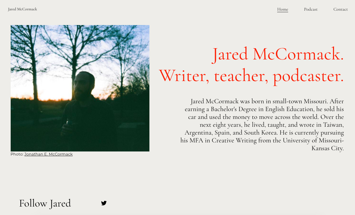 Jared McCormack Website