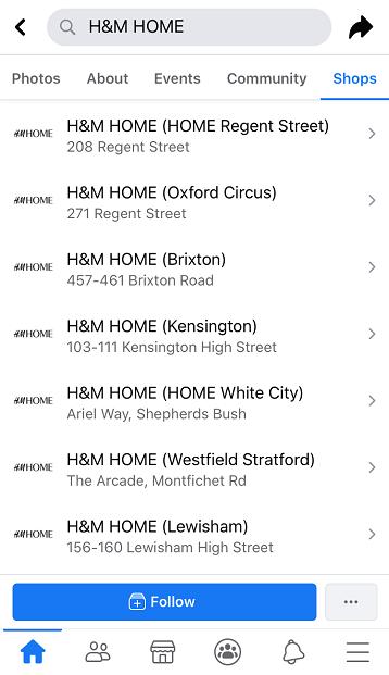Màn hình facebook hiển thị các địa điểm