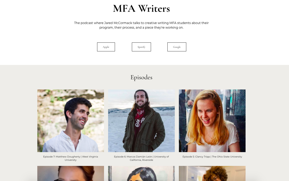 MFA Writers Podcast Web Page