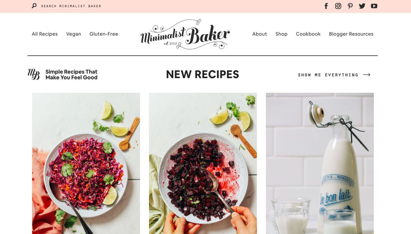 Minimalist Baker blog landing page