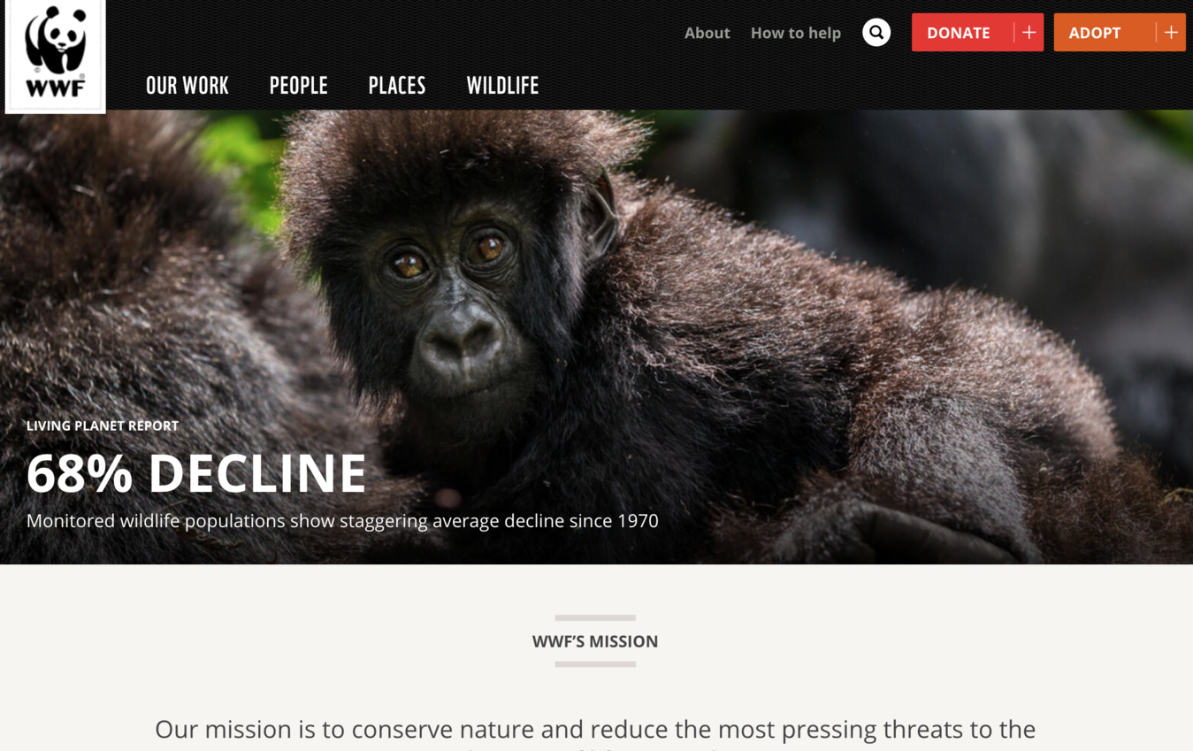 Example of a non-profit website (WWF)