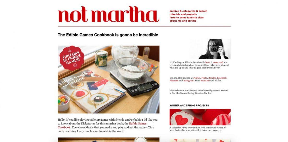 Printscreen do site Not Martha