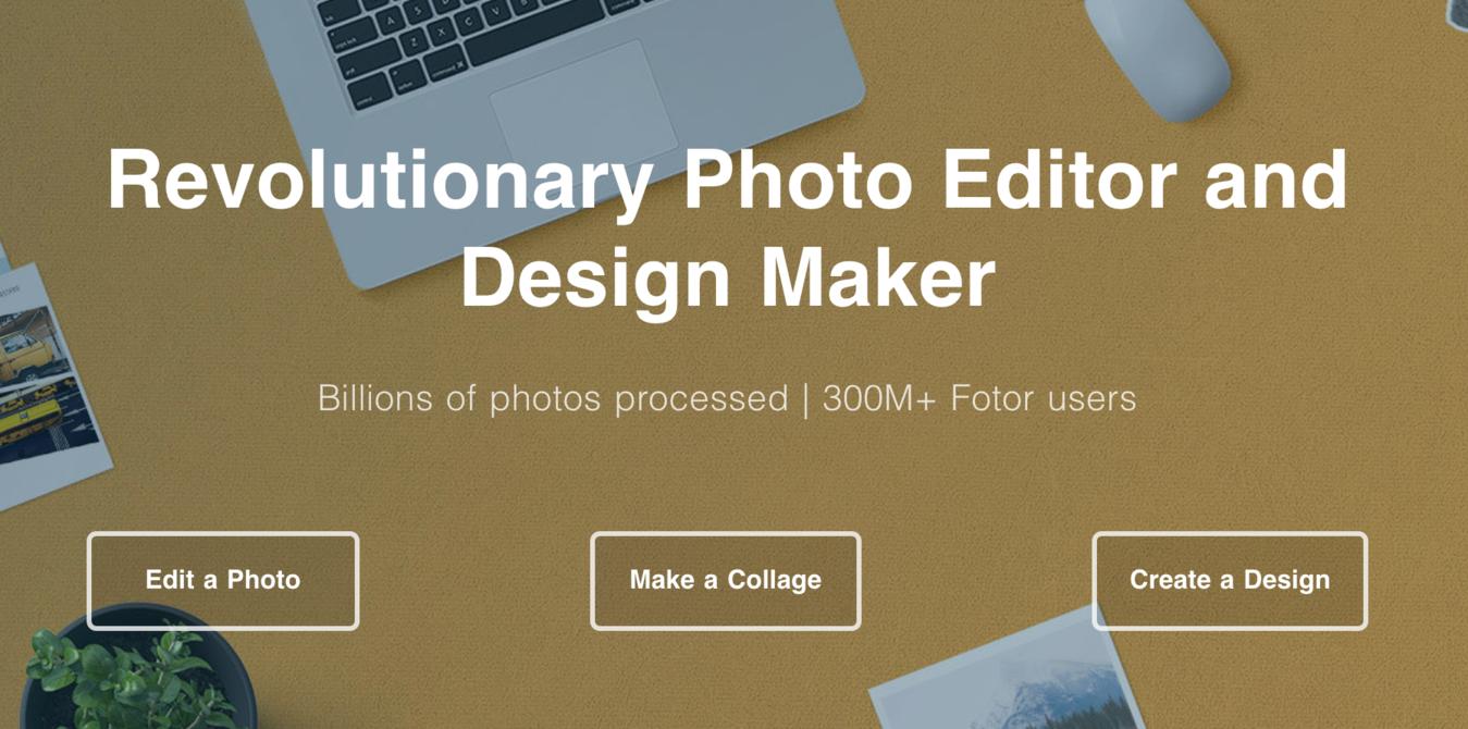 página inicial do software de edição de fotos Fotor