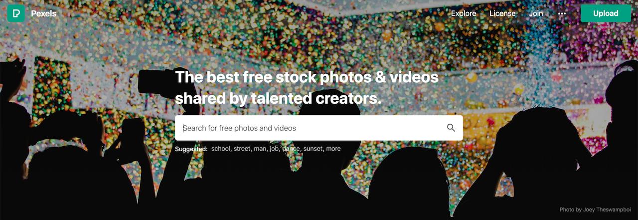 Pagina di accesso Pexels per trovare immagini stock gratuite