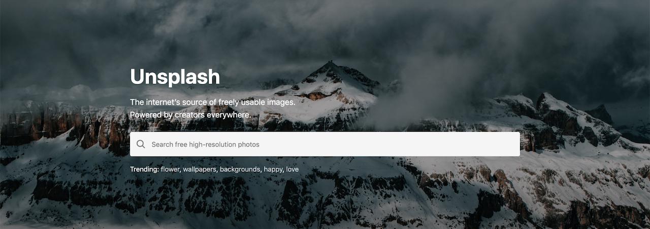 Pagina di accesso al sito web Unsplash