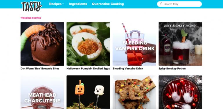 Printscreen do site de receitas Tasty food