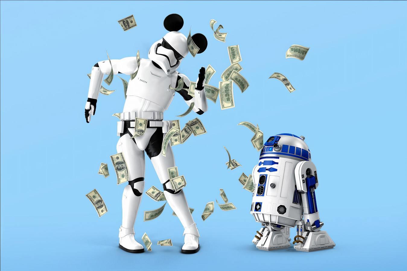 Robôs a dançar com dinheiro a cair
