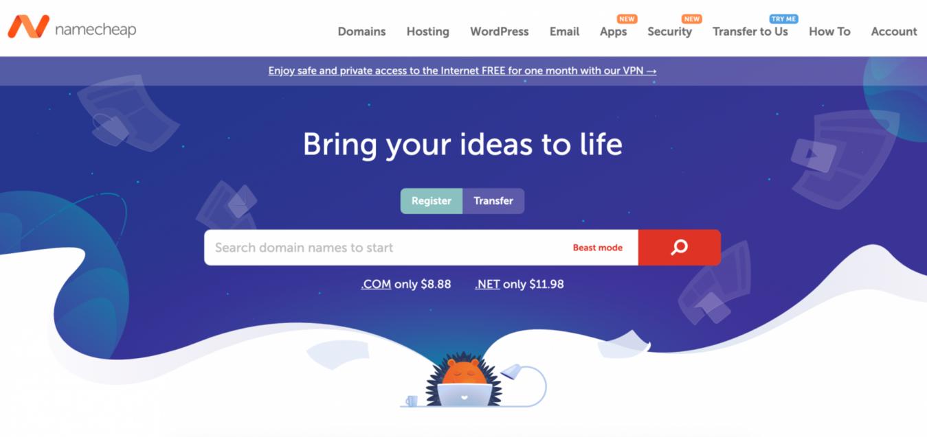 Screenshot del sito web Namecheap Hosting