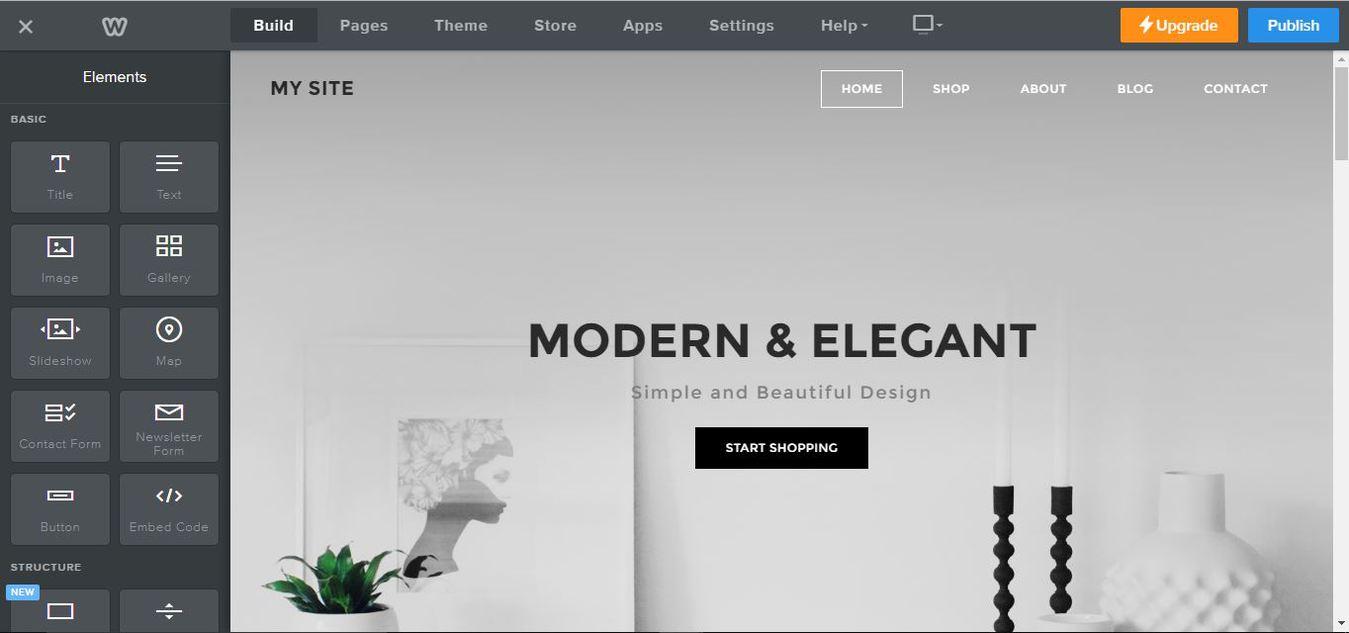 Screen del costruttore sito web di Weebly