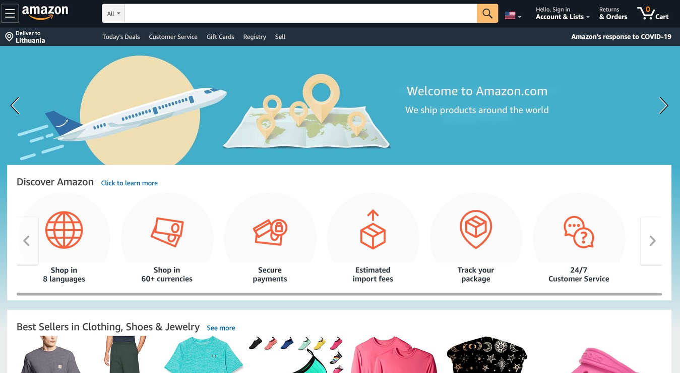 Screenshot halaman utama marketplace online Amazon