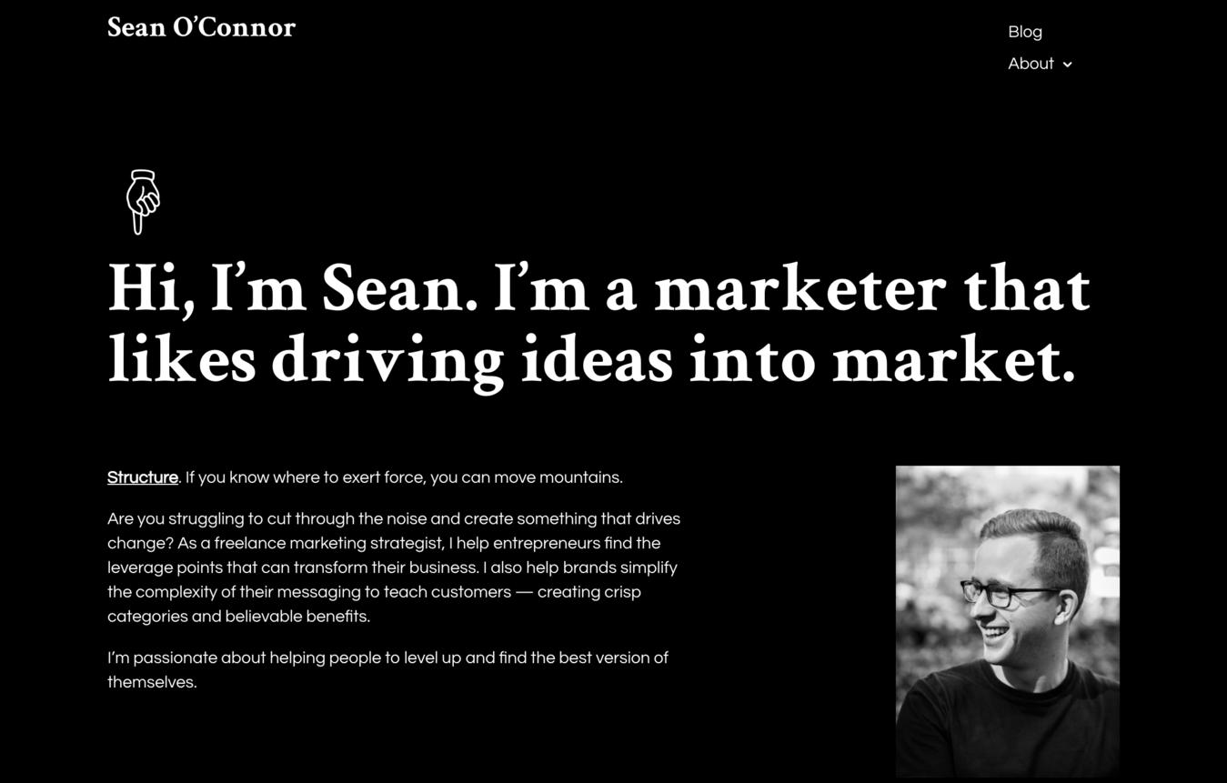 Sean O'Connor's resume website
