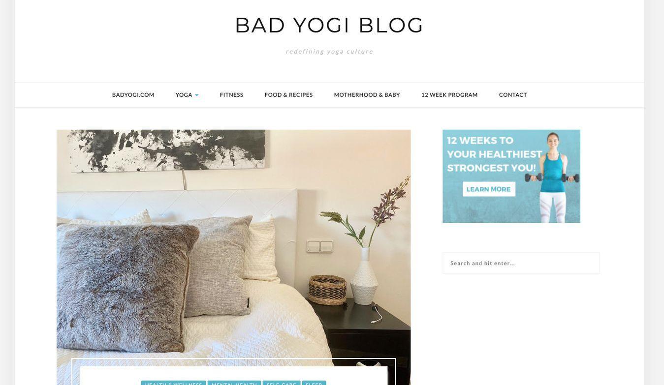 La página de inicio del blog Bad Yogi